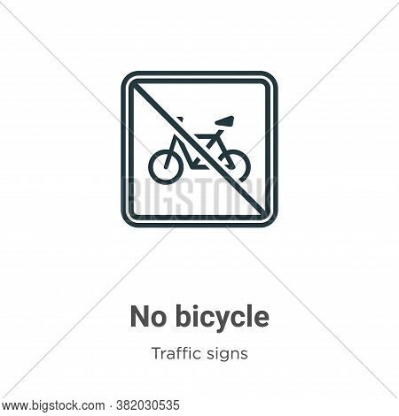 No bicycle icon isolated on white background from traffic signs collection. No bicycle icon trendy a