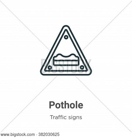 Pothole icon isolated on white background from traffic signs collection. Pothole icon trendy and mod