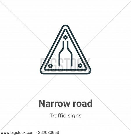 Narrow Road Icon From Traffic Signs Collection Isolated On White Background.