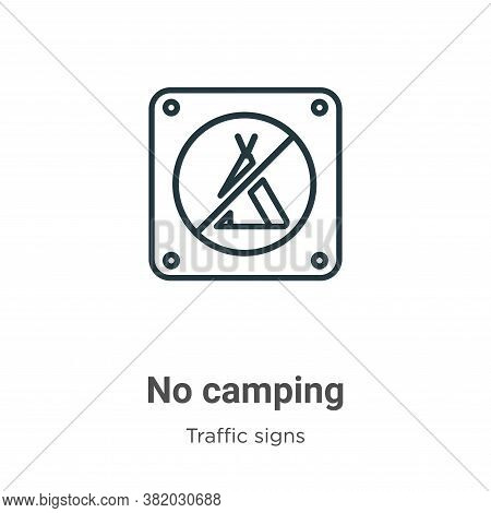 No camping icon isolated on white background from traffic signs collection. No camping icon trendy a