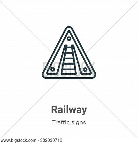 Railway icon isolated on white background from traffic signs collection. Railway icon trendy and mod