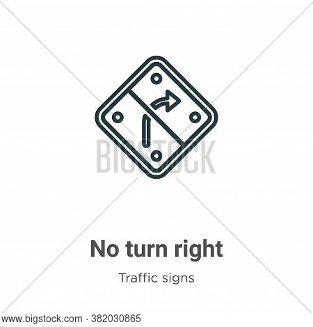 No turn right icon isolated on white background from traffic signs collection. No turn right icon tr