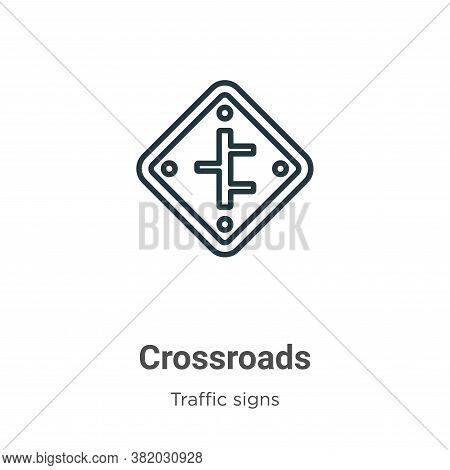 Crossroads icon isolated on white background from traffic signs collection. Crossroads icon trendy a
