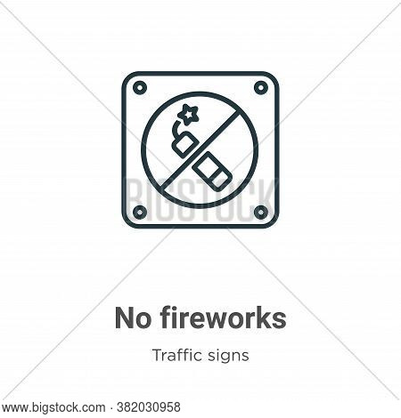 No fireworks icon isolated on white background from traffic signs collection. No fireworks icon tren