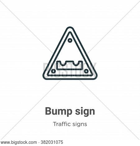 Bump sign icon isolated on white background from traffic signs collection. Bump sign icon trendy and