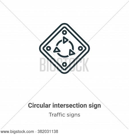 Circular intersection sign icon isolated on white background from traffic signs collection. Circular