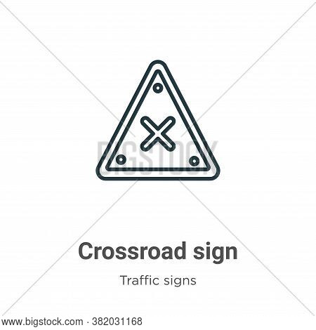 Crossroad sign icon isolated on white background from traffic signs collection. Crossroad sign icon