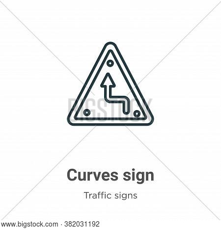 Curves sign icon isolated on white background from traffic signs collection. Curves sign icon trendy