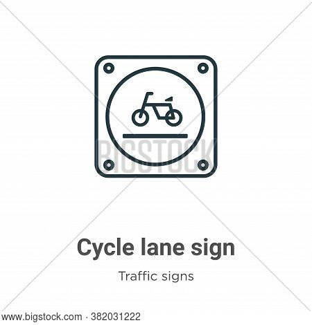 Cycle lane sign icon isolated on white background from traffic signs collection. Cycle lane sign ico