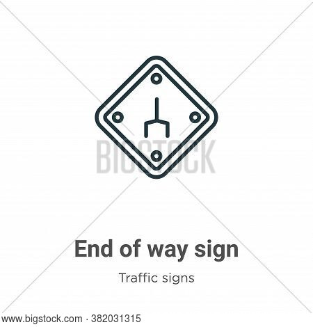 End of way sign icon isolated on white background from traffic signs collection. End of way sign ico