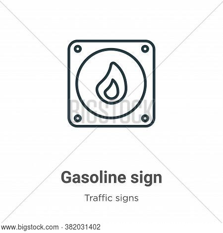 Gasoline sign icon isolated on white background from traffic signs collection. Gasoline sign icon tr