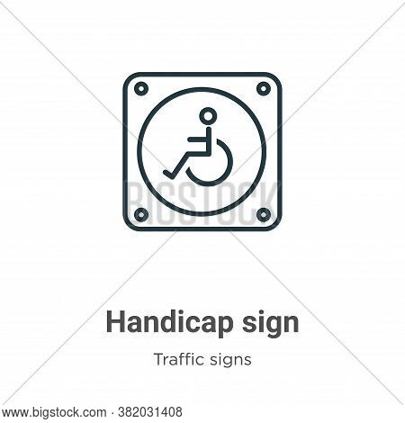 Handicap sign icon isolated on white background from traffic signs collection. Handicap sign icon tr