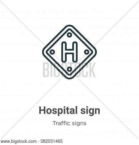 Hospital sign icon isolated on white background from traffic signs collection. Hospital sign icon tr