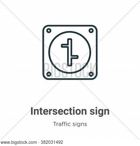 Intersection sign icon isolated on white background from traffic signs collection. Intersection sign