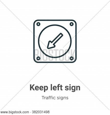 Keep left sign icon isolated on white background from traffic signs collection. Keep left sign icon