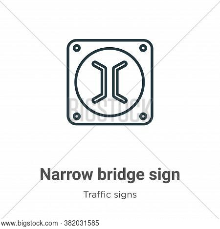 Narrow Bridge Sign Icon From Traffic Signs Collection Isolated On White Background.