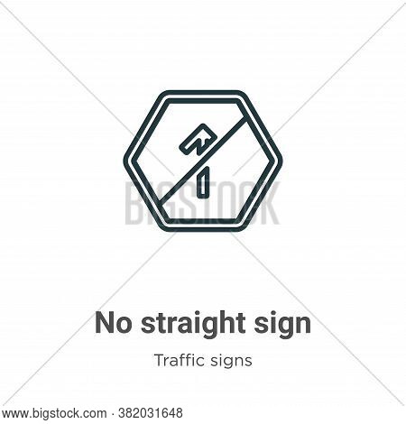 No straight sign icon isolated on white background from traffic signs collection. No straight sign i