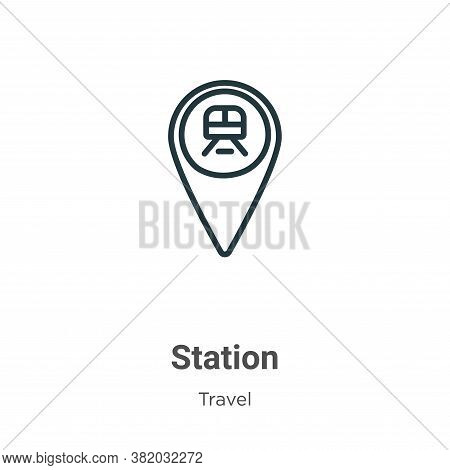 Station icon isolated on white background from travel collection. Station icon trendy and modern Sta