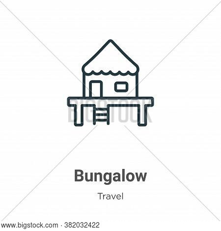 Bungalow icon isolated on white background from travel collection. Bungalow icon trendy and modern B