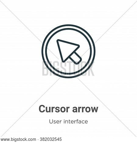 Cursor arrow icon isolated on white background from user interface collection. Cursor arrow icon tre