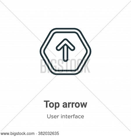 Top arrow icon isolated on white background from user interface collection. Top arrow icon trendy an