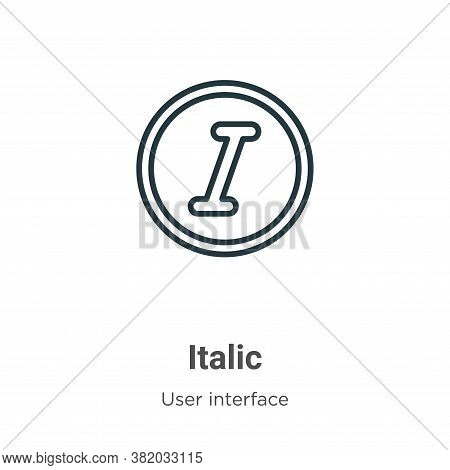 Italic icon isolated on white background from user interface collection. Italic icon trendy and mode