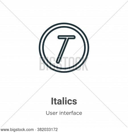 Italics icon isolated on white background from user interface collection. Italics icon trendy and mo