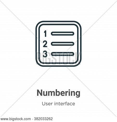 Numbering icon isolated on white background from user interface collection. Numbering icon trendy an