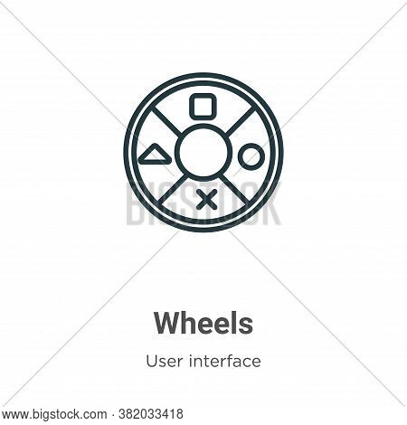 Wheels icon isolated on white background from user interface collection. Wheels icon trendy and mode