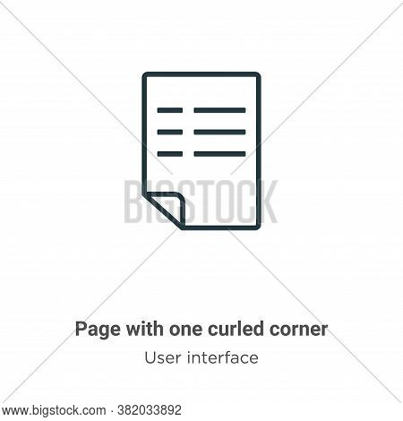 Page with one curled corner icon isolated on white background from user interface collection. Page w
