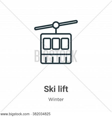 Ski lift icon isolated on white background from winter collection. Ski lift icon trendy and modern S