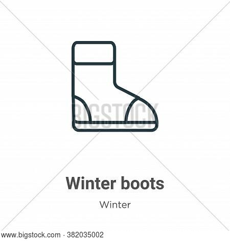 Winter boots icon isolated on white background from winter collection. Winter boots icon trendy and