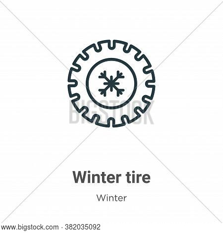 Winter tire icon isolated on white background from winter collection. Winter tire icon trendy and mo