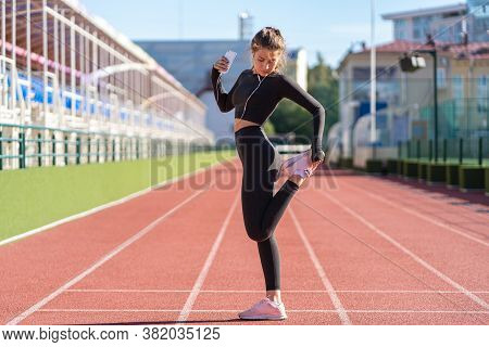 Fit Woman Stretching Muscles Making Functional Training, Doing Exercises For Legs, Hamstring Stretch