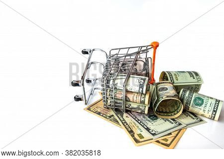Grocery Cart  Full With Of Usa Banknotes Isolated On White. Concept Loan, Investment, Pension, Savin
