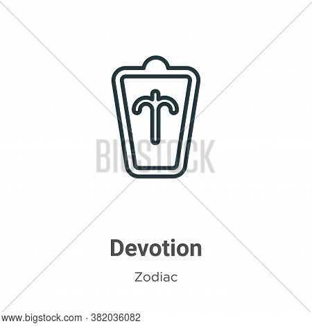 Devotion icon isolated on white background from zodiac collection. Devotion icon trendy and modern D
