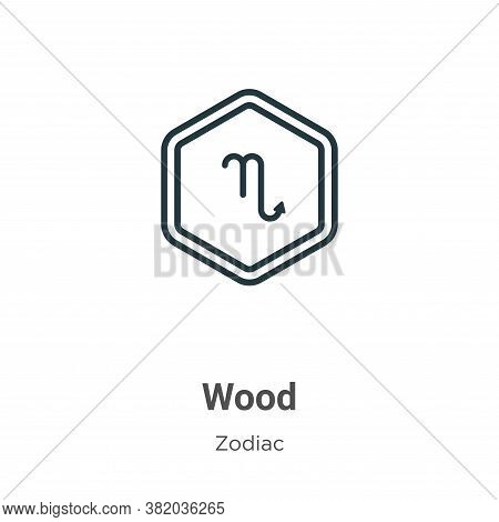 Wood icon isolated on white background from zodiac collection. Wood icon trendy and modern Wood symb