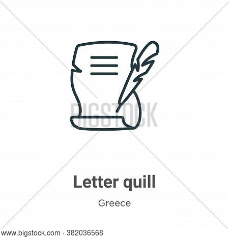 Letter quill icon isolated on white background from greece collection. Letter quill icon trendy and
