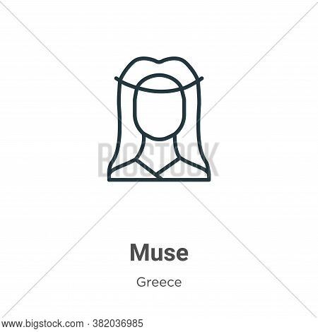 Muse icon isolated on white background from greece collection. Muse icon trendy and modern Muse symb