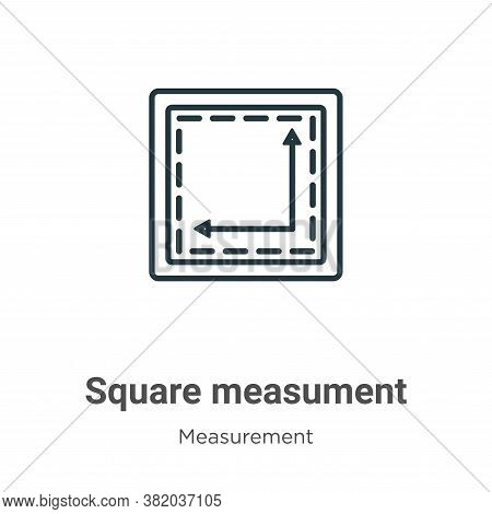 Square measument icon isolated on white background from measurement collection. Square measument ico