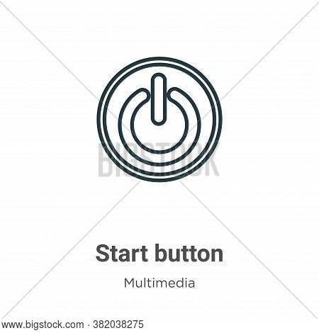 Start button icon isolated on white background from multimedia collection. Start button icon trendy