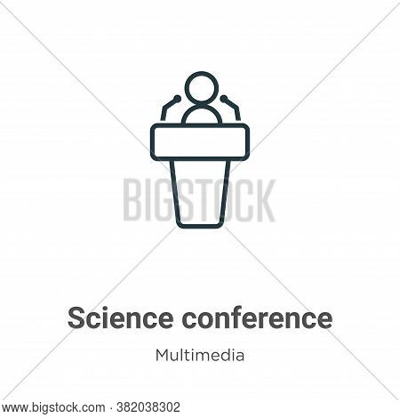 Science conference icon isolated on white background from multimedia collection. Science conference