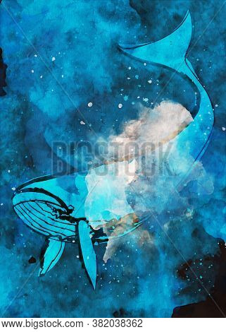 Whale In Blue Tone, Digital Illustration With Watercolor Texture