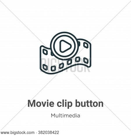 Movie clip button icon isolated on white background from multimedia collection. Movie clip button ic