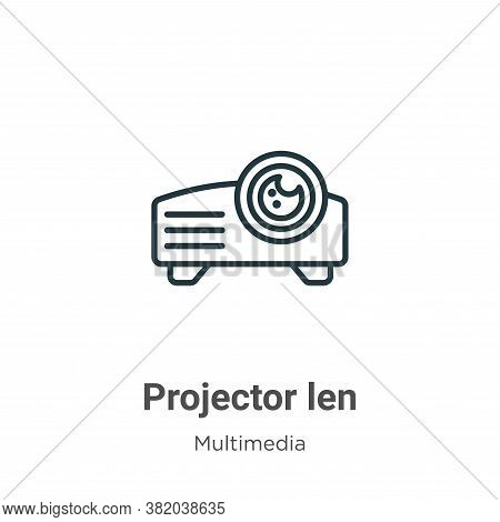 Projector len icon isolated on white background from multimedia collection. Projector len icon trend