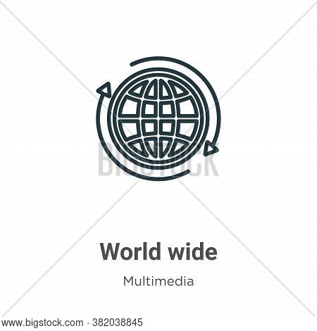 World wide icon isolated on white background from multimedia collection. World wide icon trendy and