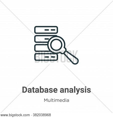 Database analysis icon isolated on white background from multimedia collection. Database analysis ic