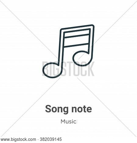 Song note icon isolated on white background from music collection. Song note icon trendy and modern