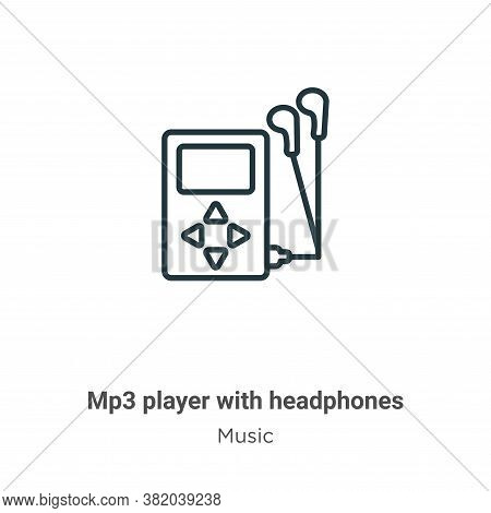 Mp3 player with headphones icon isolated on white background from music collection. Mp3 player with