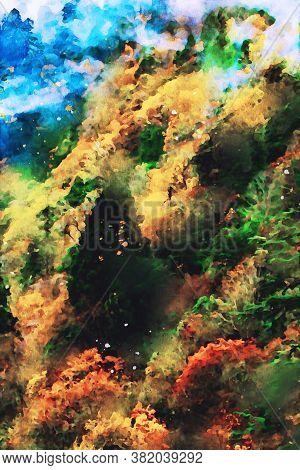 Autumn Landscape, Fall Season Image, Digital Watercolor Painting